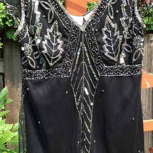 SCALA silver sequined beaded black top formalwear